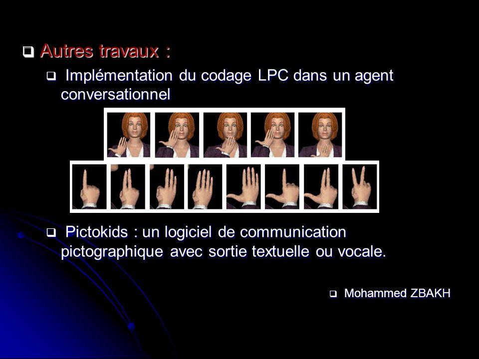 Autres travaux : Implémentation du codage LPC dans un agent conversationnel.