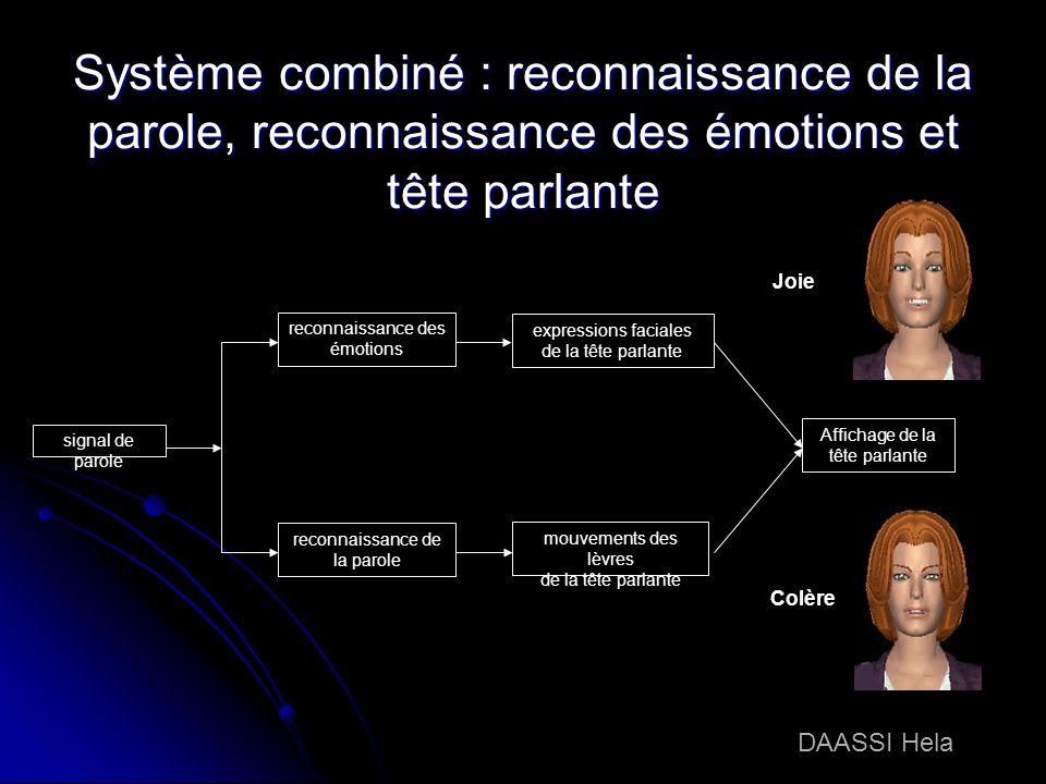 Système combiné : reconnaissance de la parole, reconnaissance des émotions et tête parlante