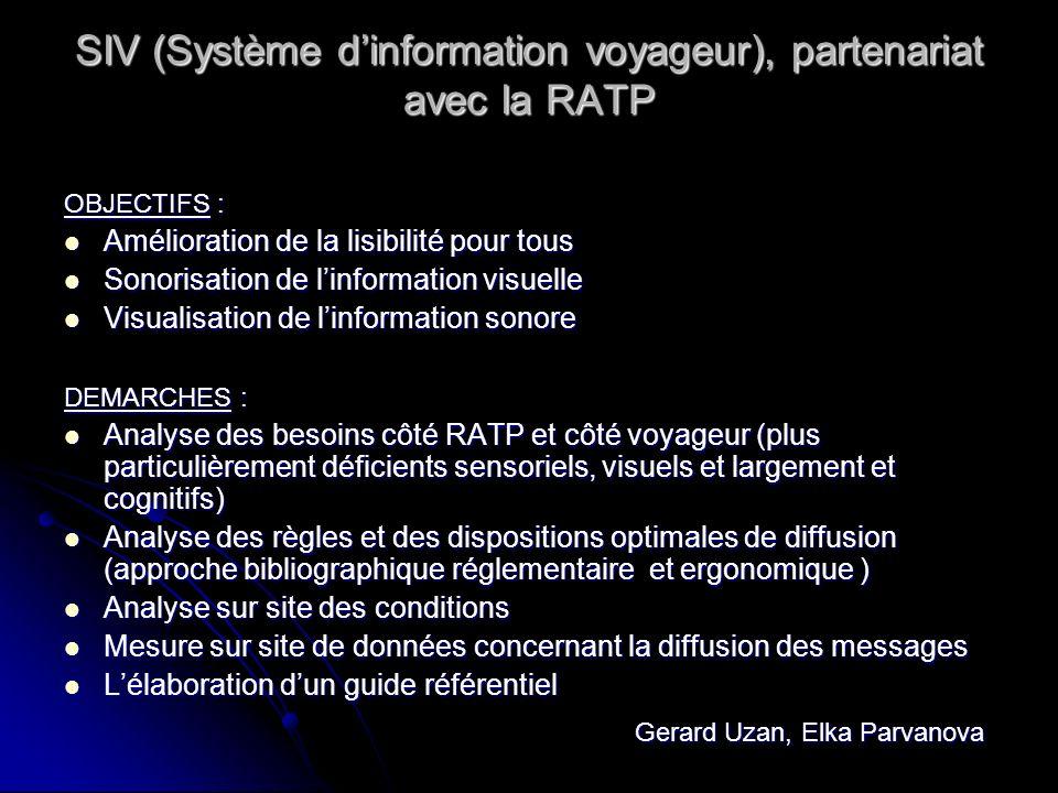 SIV (Système d'information voyageur), partenariat avec la RATP