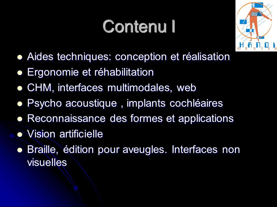 Contenu I Aides techniques: conception et réalisation