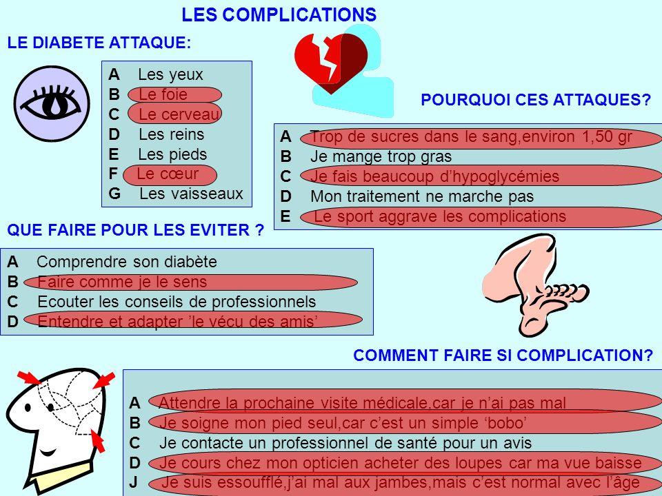 LES COMPLICATIONS LE DIABETE ATTAQUE: A Les yeux B Le foie