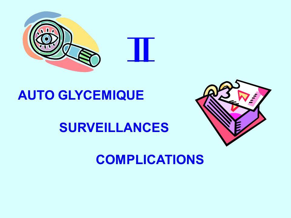 II AUTO GLYCEMIQUE SURVEILLANCES SURVEILLANCES COMPLICATIONS