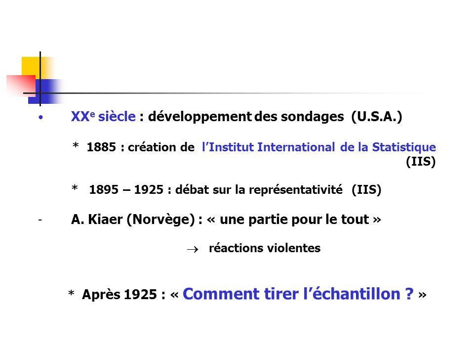 XXe siècle : développement des sondages (U.S.A.)
