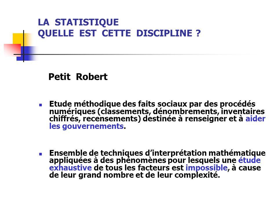 LA STATISTIQUE QUELLE EST CETTE DISCIPLINE