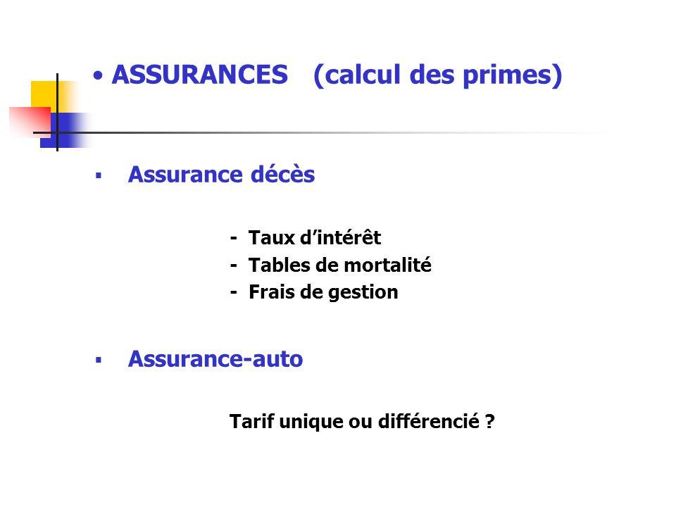 ASSURANCES (calcul des primes)