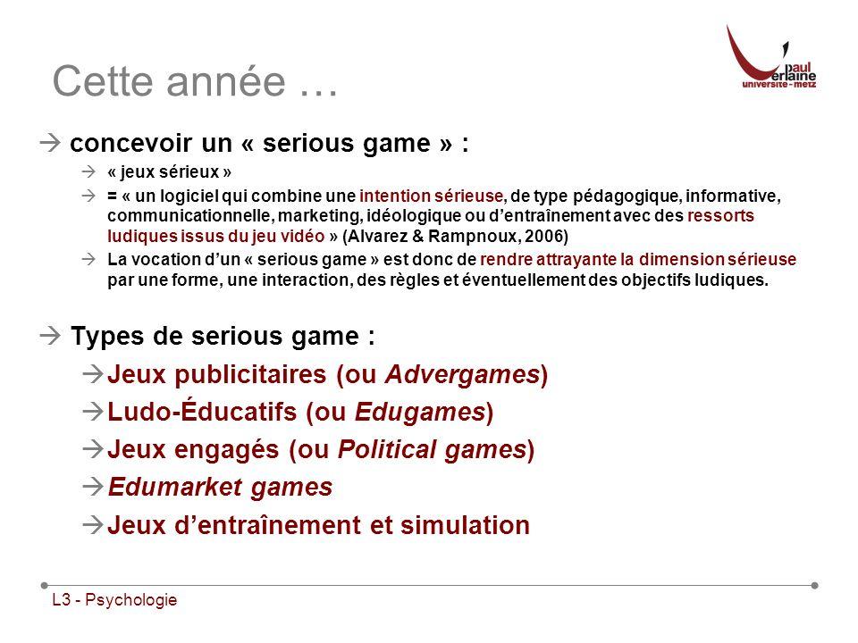 Cette année … concevoir un « serious game » : Types de serious game :