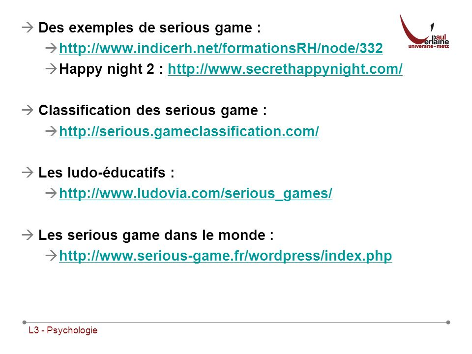 Des exemples de serious game :