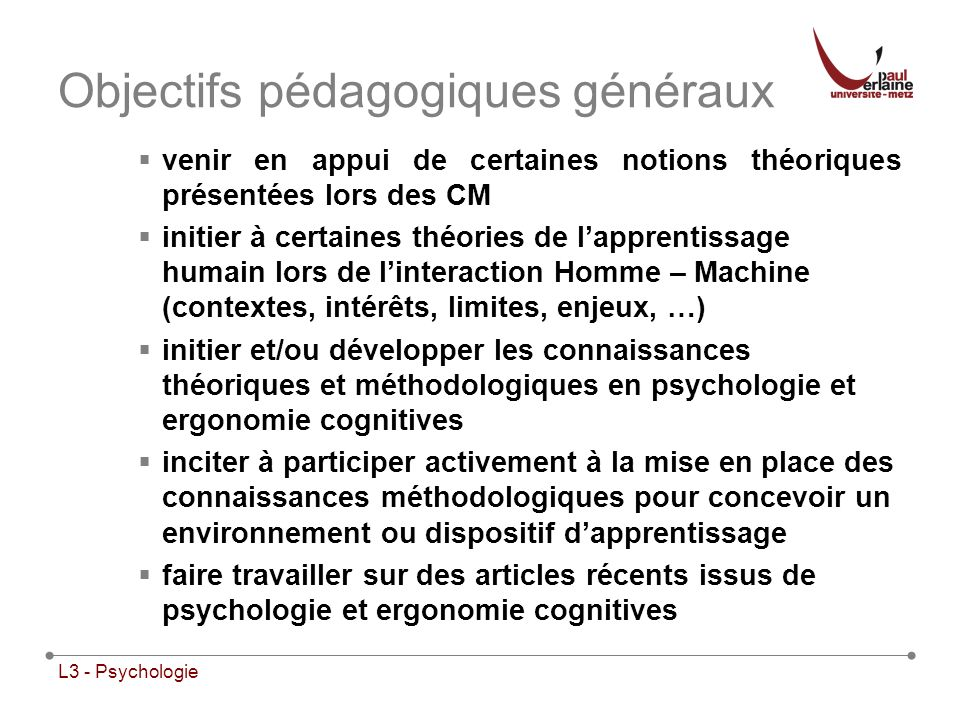 Objectifs pédagogiques généraux