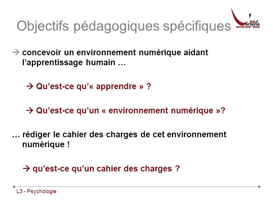Objectifs pédagogiques spécifiques