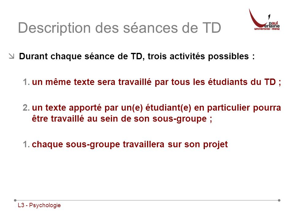 Description des séances de TD