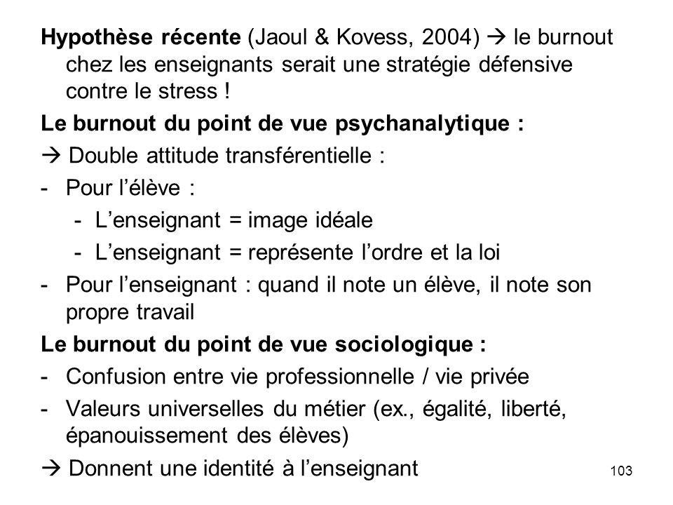 Hypothèse récente (Jaoul & Kovess, 2004)  le burnout chez les enseignants serait une stratégie défensive contre le stress !