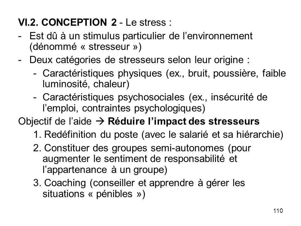 VI.2. CONCEPTION 2 - Le stress :