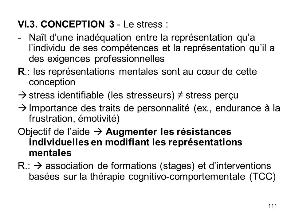 VI.3. CONCEPTION 3 - Le stress :