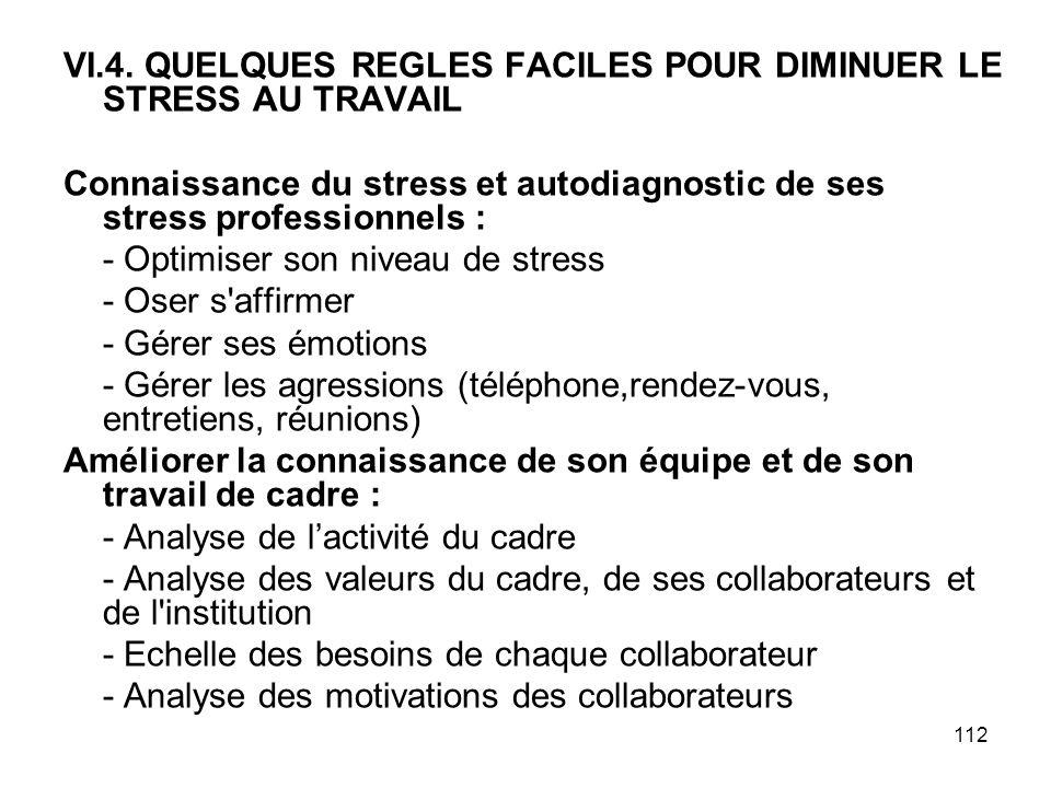 VI.4. QUELQUES REGLES FACILES POUR DIMINUER LE STRESS AU TRAVAIL
