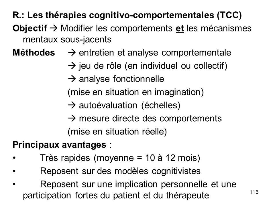 R.: Les thérapies cognitivo-comportementales (TCC)