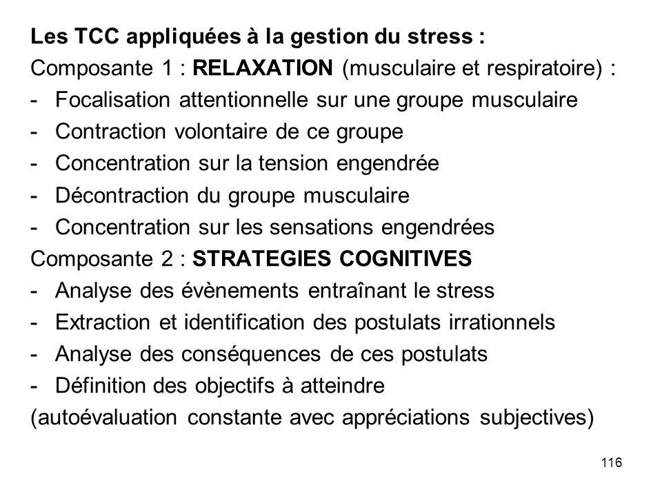 Les TCC appliquées à la gestion du stress :