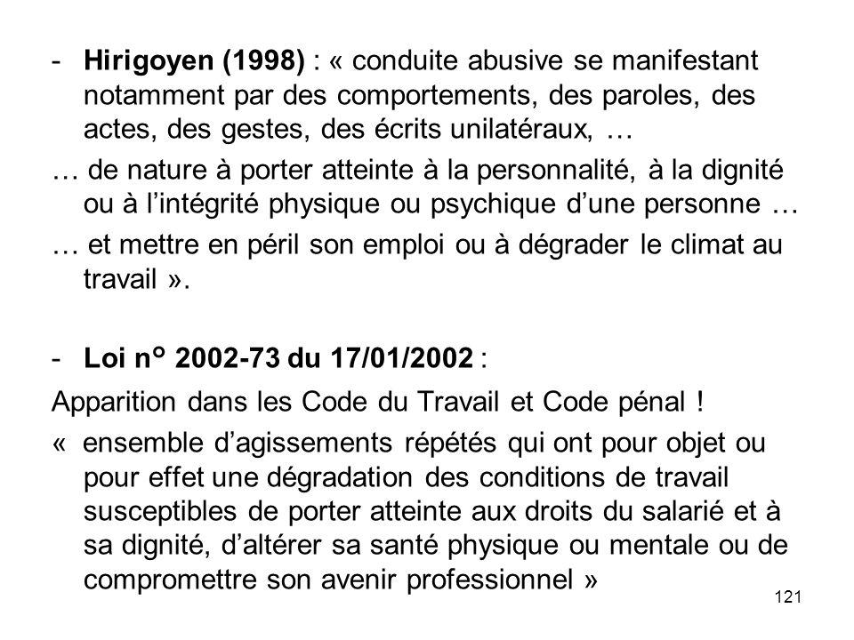 Hirigoyen (1998) : « conduite abusive se manifestant notamment par des comportements, des paroles, des actes, des gestes, des écrits unilatéraux, …