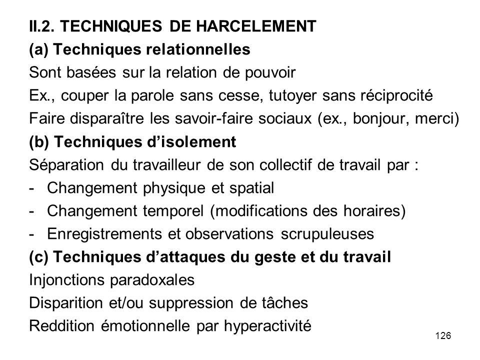 II.2. TECHNIQUES DE HARCELEMENT