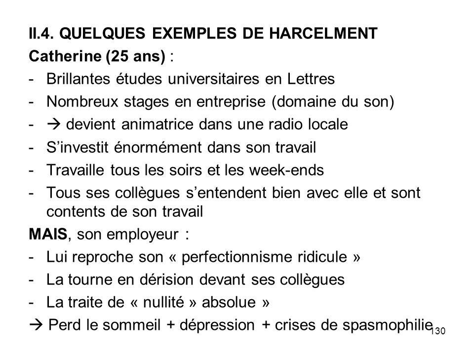 II.4. QUELQUES EXEMPLES DE HARCELMENT