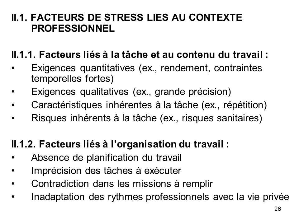 II.1. FACTEURS DE STRESS LIES AU CONTEXTE PROFESSIONNEL