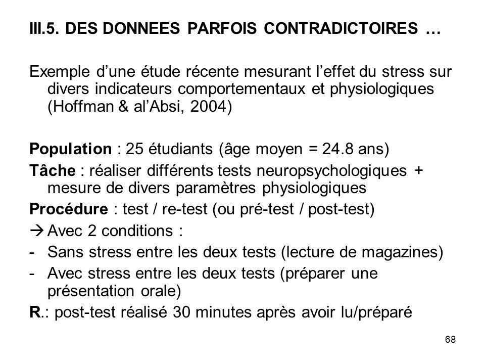 III.5. DES DONNEES PARFOIS CONTRADICTOIRES …