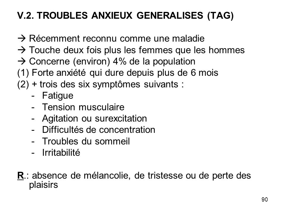V.2. TROUBLES ANXIEUX GENERALISES (TAG)
