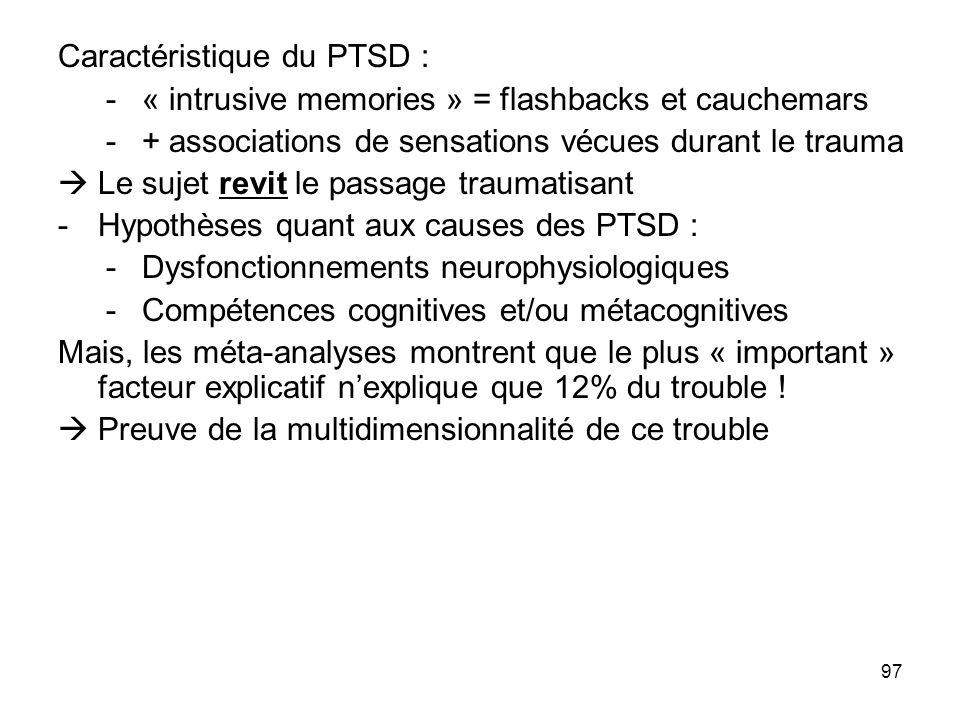 Caractéristique du PTSD :