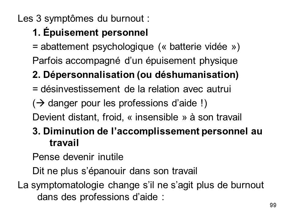 Les 3 symptômes du burnout :