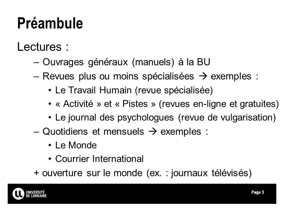 Préambule Lectures : Ouvrages généraux (manuels) à la BU
