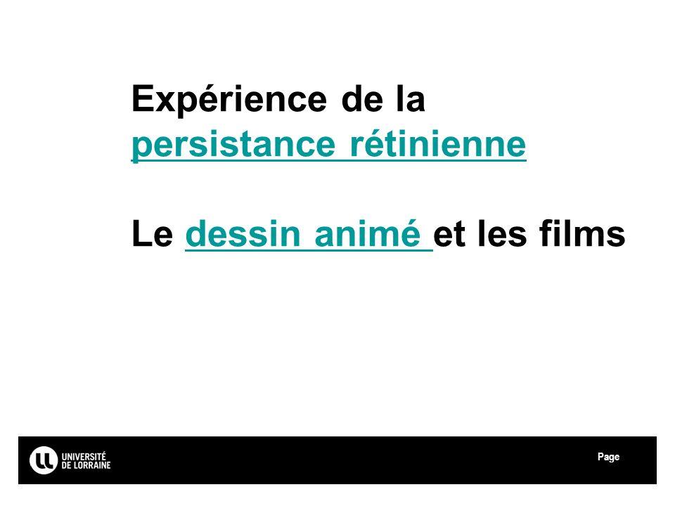 Expérience de la persistance rétinienne Le dessin animé et les films