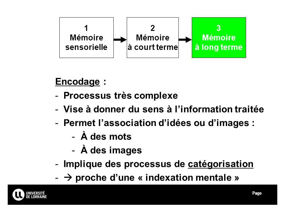 Processus très complexe Vise à donner du sens à l'information traitée