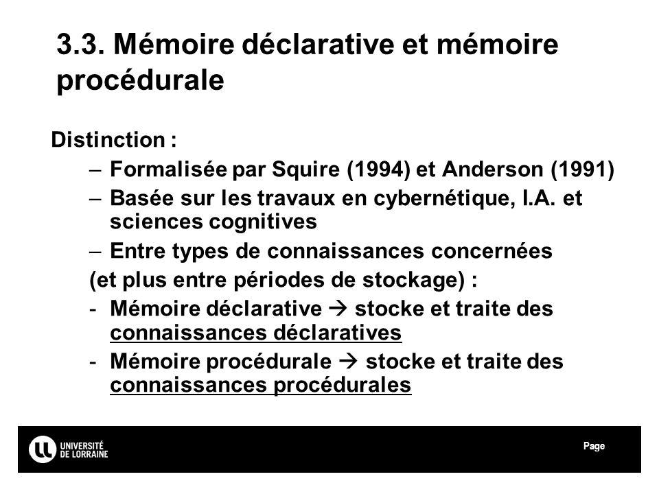 3.3. Mémoire déclarative et mémoire procédurale