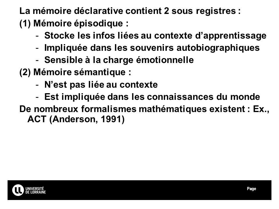 La mémoire déclarative contient 2 sous registres :