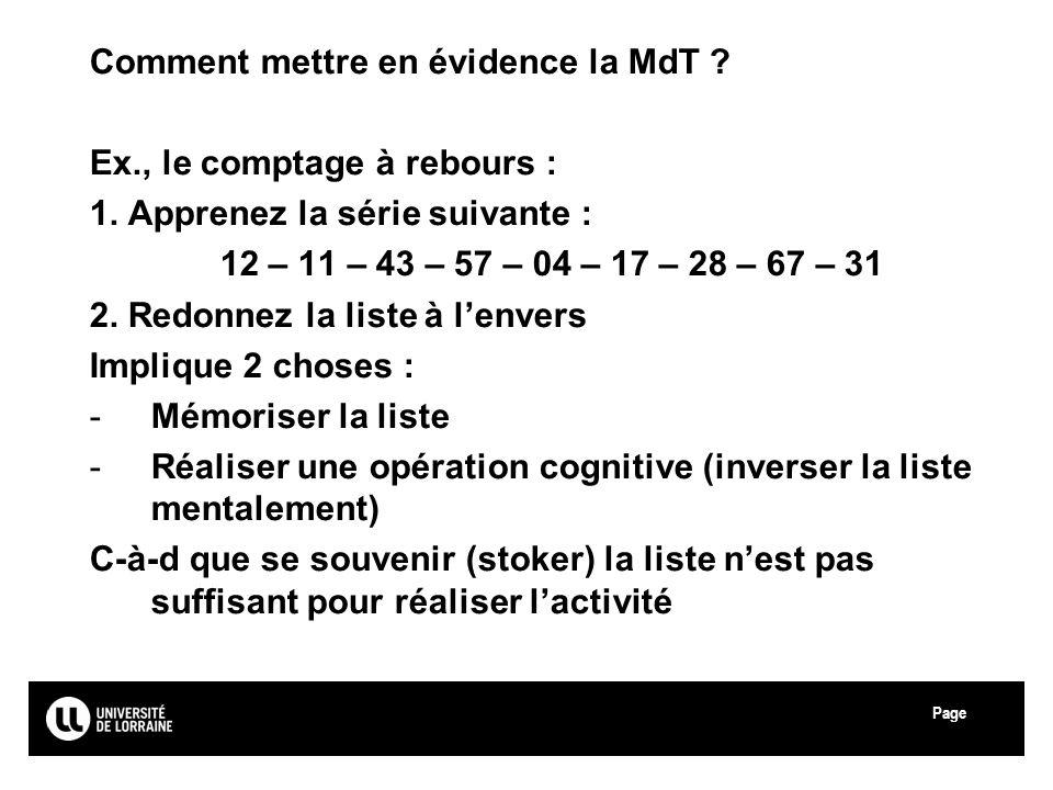 Comment mettre en évidence la MdT Ex., le comptage à rebours :