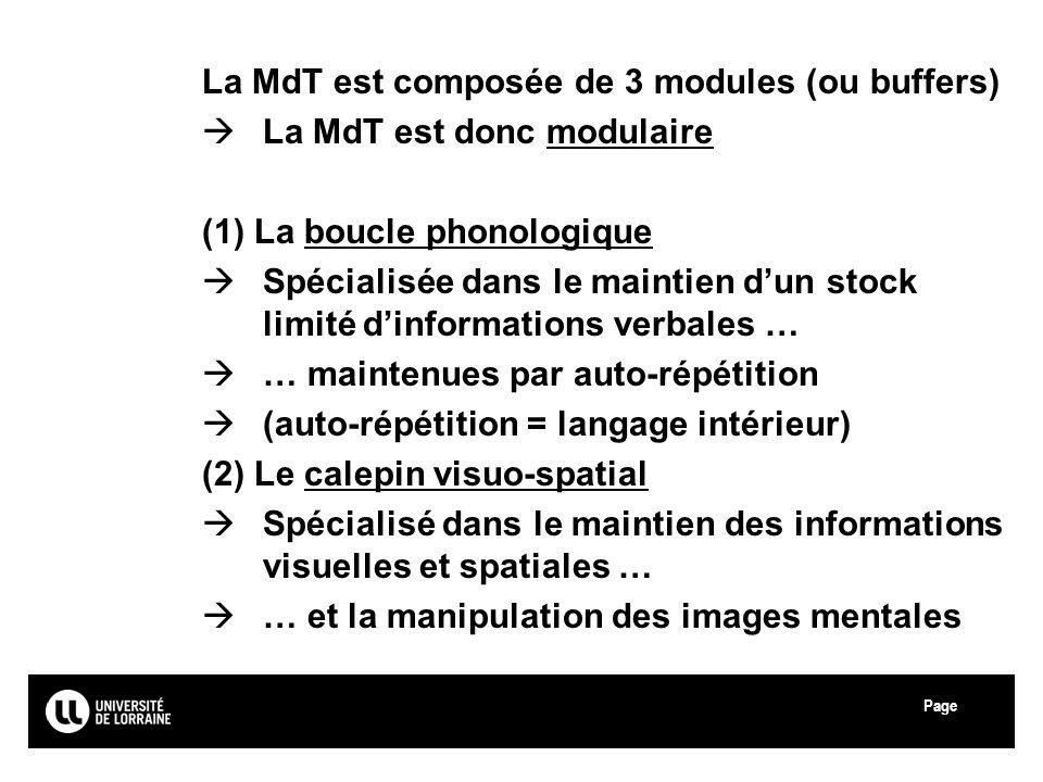 La MdT est composée de 3 modules (ou buffers)