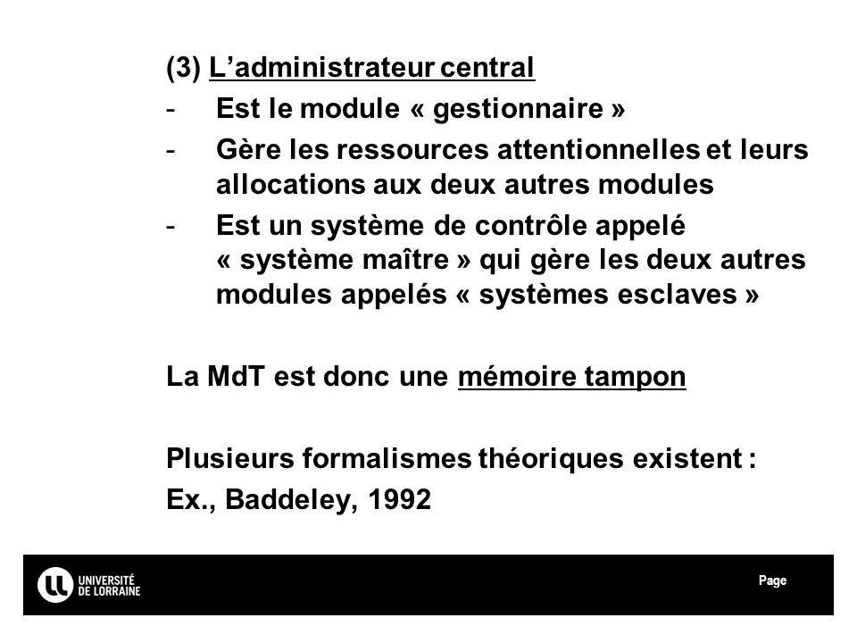 (3) L'administrateur central Est le module « gestionnaire »