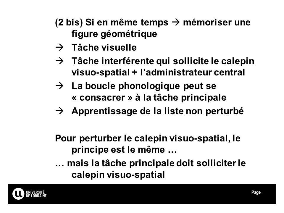 (2 bis) Si en même temps  mémoriser une figure géométrique