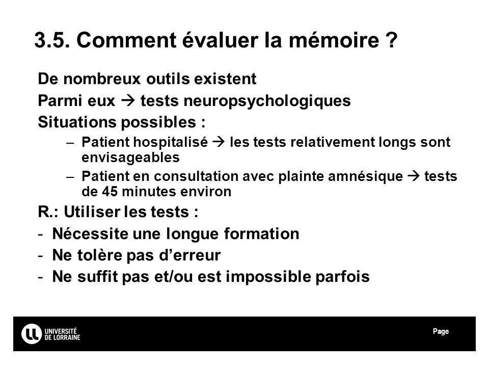 3.5. Comment évaluer la mémoire