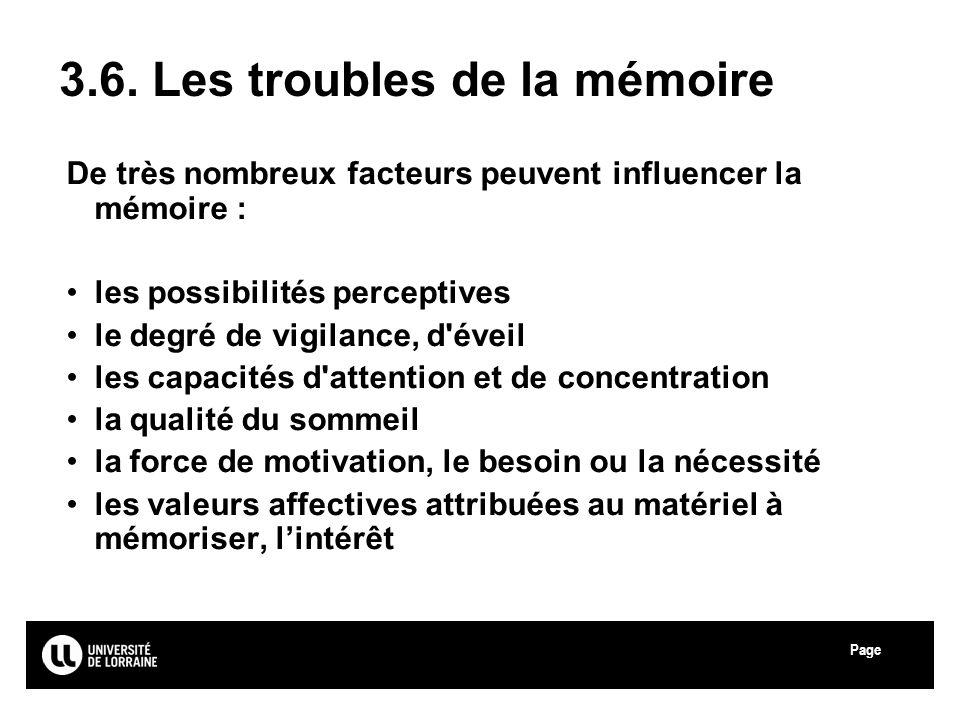3.6. Les troubles de la mémoire