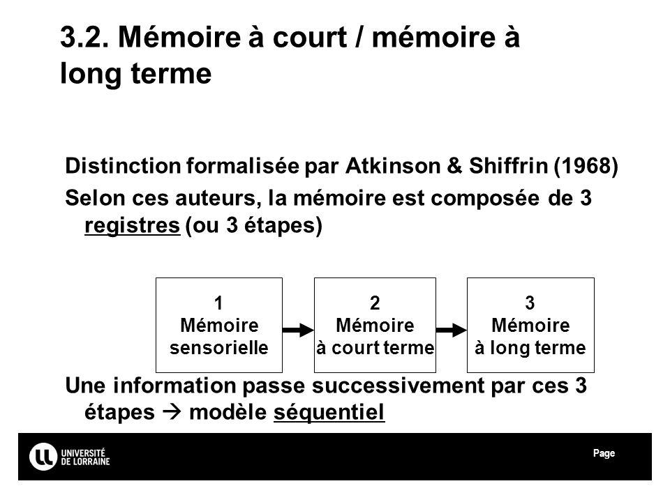 3.2. Mémoire à court / mémoire à long terme