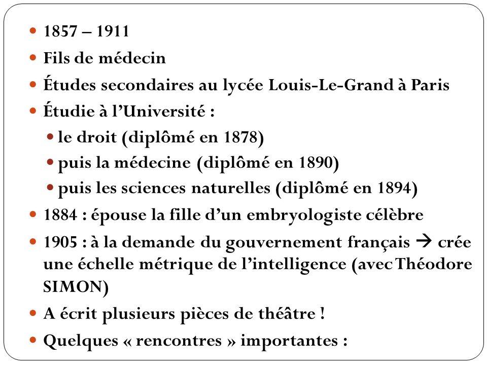 1857 – 1911 Fils de médecin. Études secondaires au lycée Louis-Le-Grand à Paris. Étudie à l'Université :