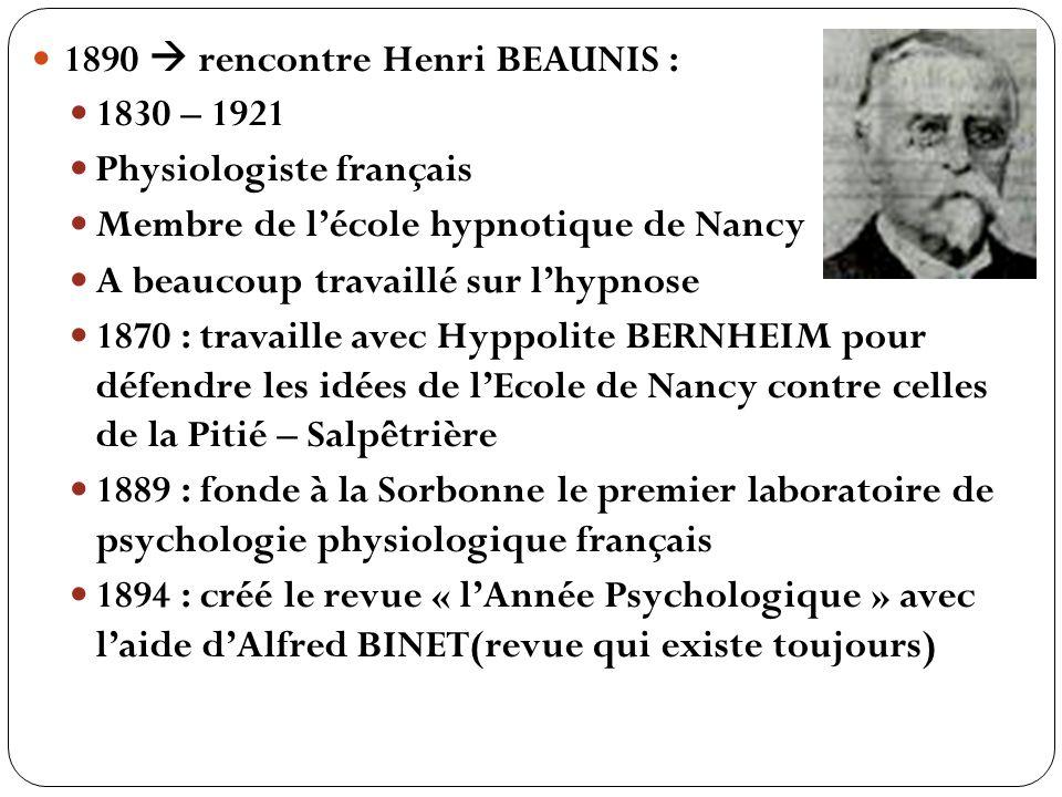 1890  rencontre Henri BEAUNIS :
