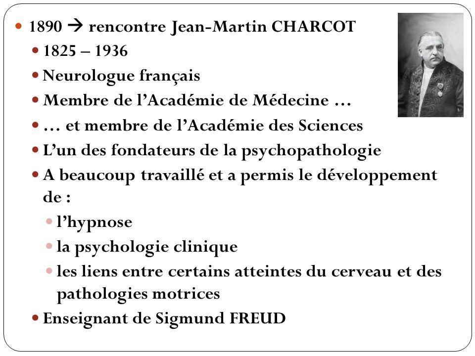 1890  rencontre Jean-Martin CHARCOT