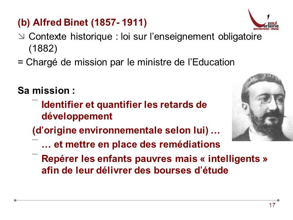 (b) Alfred Binet (1857- 1911) Contexte historique : loi sur l'enseignement obligatoire (1882) = Chargé de mission par le ministre de l'Education.