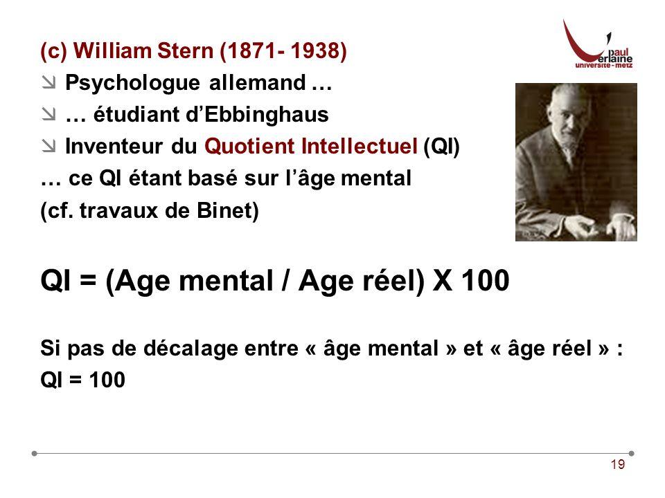 QI = (Age mental / Age réel) X 100