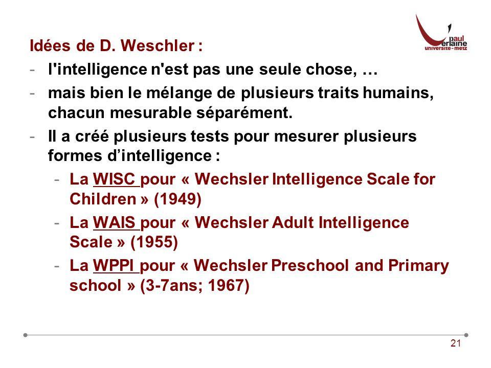 Idées de D. Weschler : l intelligence n est pas une seule chose, … mais bien le mélange de plusieurs traits humains, chacun mesurable séparément.