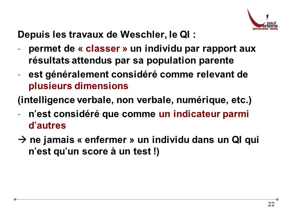 Depuis les travaux de Weschler, le QI :