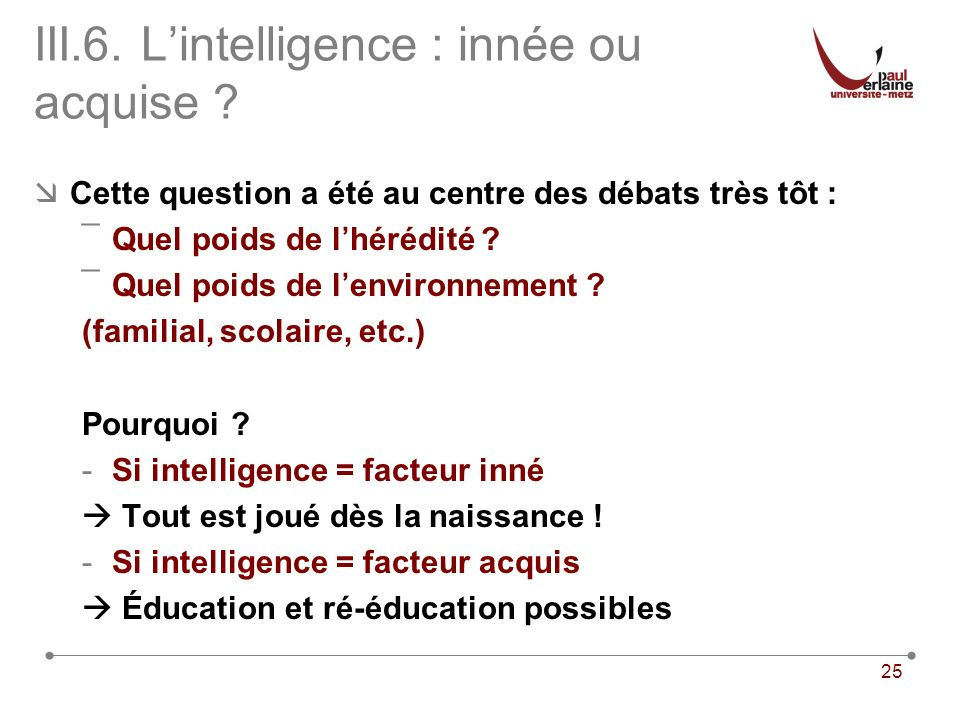 III.6. L'intelligence : innée ou acquise