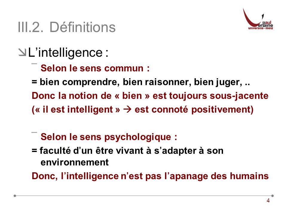 III.2. Définitions L'intelligence : Selon le sens commun :