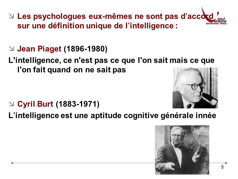 Les psychologues eux-mêmes ne sont pas d'accord sur une définition unique de l'intelligence :